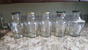 Ornamental 2 litre glass jars-set of 5.