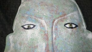 VINTAGE HAND CARVED HEAVY AFRICAN TRIBAL MASK WALL ART Kitchener / Waterloo Kitchener Area image 4