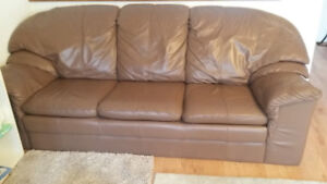 Sofa leather looking, loveseat and chair sold