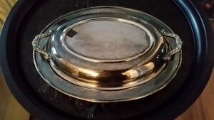 VINTAGE SILVER PLATE E.P. COPPER SERVING DISH