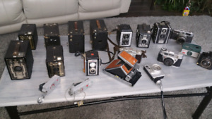 Box of vintage cameras and gear