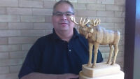 Hand carved  Bull Moose sculpture. Basswood..