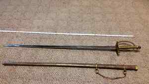 39 INCH INDIAN SWORD AND SHEATH BRASS COPPER AND STEEL.
