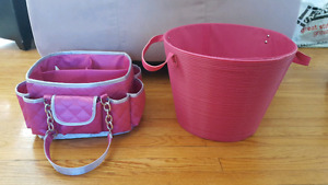 Craft supply organizer/carrier with storage bucket