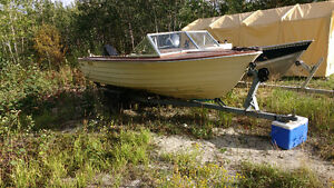 16.5 fiberfoam boat and motor and trailer for sale