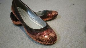 Beautiful brown sparkling shoes
