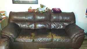 MUST GO!! REAL LEATHER COUCH