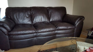 TWO COFFE BROWN  LEATHER SOFA