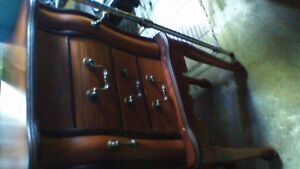 NICE CHERRY JEWELRY CABINET WITH FLIP UP MIRROR AND SIDE DOORS