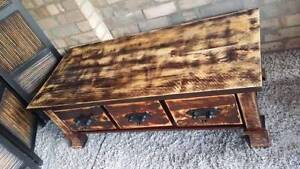 Coffee Table TV Entertainment Unit Rustic Hardwood W Drawers Coogee Eastern Suburbs Preview