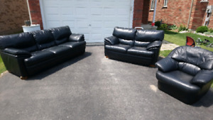 Black Leather Couch Set with FREE Delivery