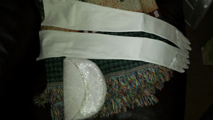 Beautiful long white gloves and beaded clutch purse