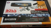 Wired backup camera kit with mirror