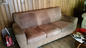 Brown microfibre couch