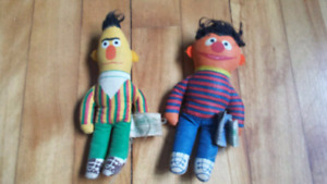 BERT and ERNIE set of vintage cloth stuffed toys, 1970's-$20