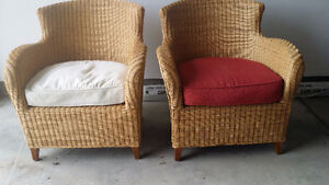 Pair of contemporary wicker/rattan armchairs