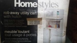 Roll away utility cart with hutch