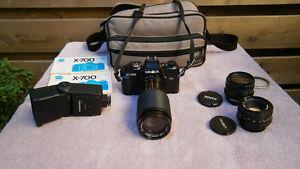 Vintage Minolta X-700 35mm Camera/3 Lens/Flash/Instructions/Case