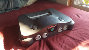 Nintendo 64 with cords and controller