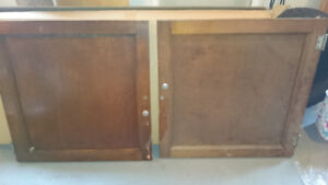 Two Oak Cabinet Doors.