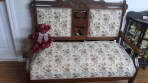 Antique love-seat  with glider rocker and with 3 matching chairs