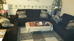Set of 3  brown couches +glass coffee table