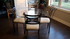 5pc Dining Set - Glass top table and 4 chairs