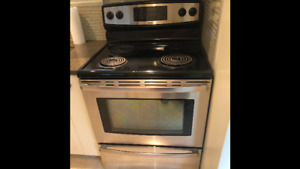 Electric Stainless Steel/Black Range and Range Hood For Sale