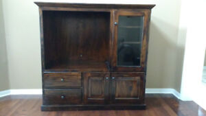 ENTERTAINMENT UNIT - SOLID WOOD - PINE - BROWN