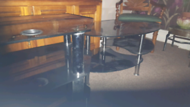 Black glass with silver posts unit set.