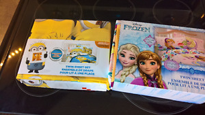 MINIONS & FROZEN! Twin bedding sets. New