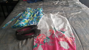 Two Floral Sundresses & Brown American Eagle flats