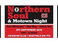 NORTHERN SOLE & MOTOWN NIGHT - 9th September 7pm till 1230am Russ Winstanley & Alan King