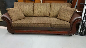Leather Sofa With Wood Accents