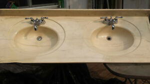 double sink, under-mount vanity with resin top