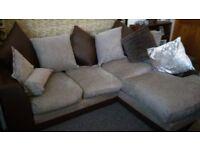 chocolate brown and biege corner sofa £80.00