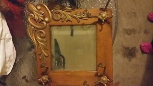 antique vintage quarter cut oak diamond mirror with hooks