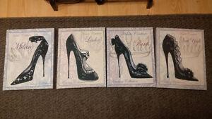art deco shoe prints framed