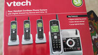 4 handset Vtech cordless phone system with answering machine