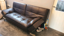 Lifestyle solutions 3 seater leather sofa loungers