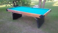 4X8 POOL TABLE WITH BALLS AND CUE