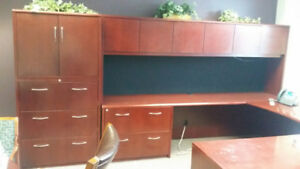 Solid Wood Custom Made Office Desk + Hutch + File Cabinet