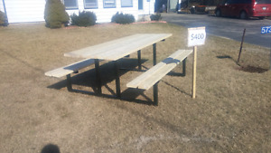 Brand new steel frame picnic tables