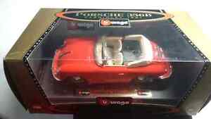 BBURAGO PORCHE 356B CABRIOLET 1961 CONVERTIBLE RED DIE CAST MADE
