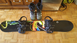 54 Burton snowboard with boots and bindings
