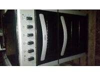 Slimline Belling Silver & Black Electric Freestanding Double Oven, Grill & Ceramic Hob