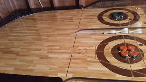 Shuffleboard table and accessories