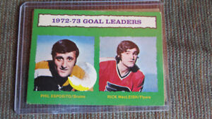 1972-73 NHL goal leaders card(Esposito/MacLeish)