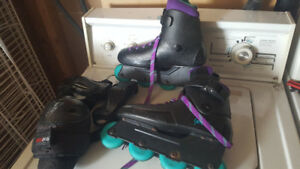 Womens rollerblades with knee and elbow pads