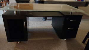 Solid Desk with Glass Top - In Great Shape